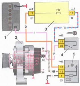 Реле зарядки электрическая схема ваз 2106.