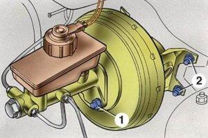 Схема крепления главного тормозного цилиндра и вакуумного усилителя