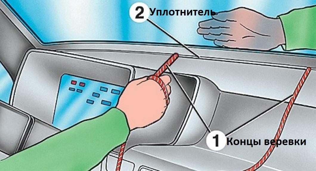 Вытягиваем шнур из уплотнителя